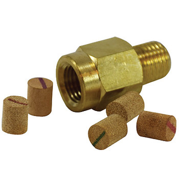 1/4 in. Pressure Snubber, Porosity: 10 um 9000 PSI, Brass Body, Includes: 5 different porosity elements per package