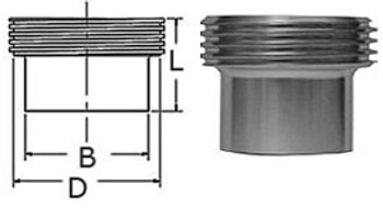 2 in. L15AJP Threaded Tube Ferrule John Perry (3A) 304 Stainless Steel Sanitary Fitting