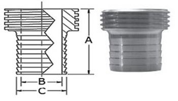 2-1/2 in. 15AHR Rubber Hose Adapter 304 Stainless Steel Sanitary Fitting