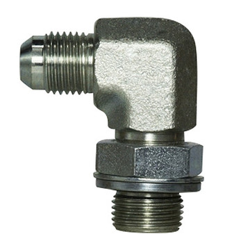 7/16-20 MJIC x 1/4-19 MBSPP Steel 90 Degree Male Elbow Hydraulic Adapter