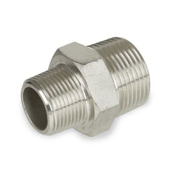 1/2 in. x 3/8 in. Reducing Hex Nipple - NPT Threaded - 150# 304 Stainless Steel Pipe Fitting