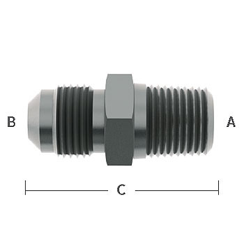 3/8 in. NPT x 5/16 in. (1/2-16) Male Flare Straight Adapter 303 Stainless Steel Beverage Fitting