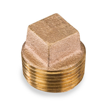 2 in. Threaded NPT Square Head Cored Plug, 125 PSI, Lead Free Brass Pipe Fitting