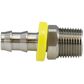 1/4 in. x 1/4 in. Male Adapters, Push-On Hose Barb x MIP Connection, NPT Threads, 150 PSI Max Pressure Rating, 316 Stainless Steel Fitting