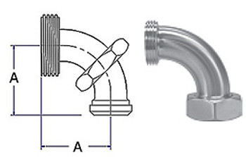 1 in. 2F 90 Degree Sweep Elbow With Hex Nut (3A) 304 Stainless Steel Sanitary Fitting with Dimensions