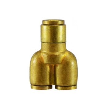 1/4 in. x 1/8 in. Tube OD, Push-In Reducing Y Union Connector, Brass Push-to-Connect Fitting