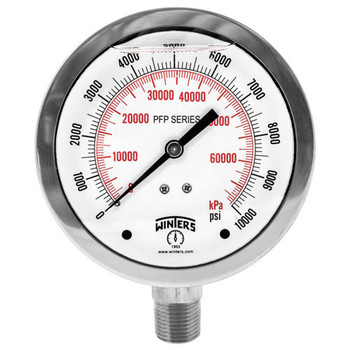 PFP Premium Stainless Steel Gauge, 4 in. Dial, 30 in./0/15 PSI/KPA, 1/2 in. NPT Bottom Connection, Movement & Socket: Brass, Tube: Phosphor Bronze