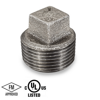 2 in. Black Pipe Fitting 150# Malleable Iron Threaded Square Head Plug, UL/FM