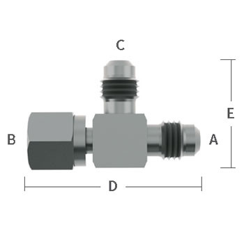 "3/8 in. Male Flare x 3/8"" Female Flare x 1/4"" Male Flare, Adapter Tee Stainless Steel Beverage Fitting"