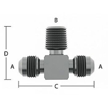 3/8 in. Male Flare x 1/2 in. MNPT Adapter Tee Stainless Steel Beverage Fitting