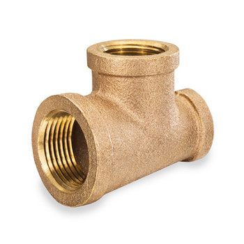 2 in. x 1 in. Threaded NPT Reducing Tees, 125 PSI, Lead Free Brass Pipe Fitting