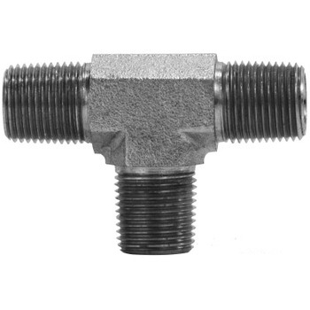 1/8 in. x 1/8 in. Male Pipe Tee Steel Pipe Fitting & Hydraulic Adapter
