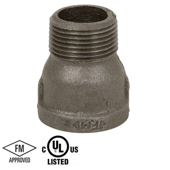 1-1/2 in. Black Pipe Fitting 150# Malleable Iron Threaded Extension Piece, UL/FM