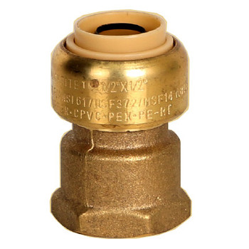 1/2 in. x 3/4 in. Female Adapter (Push x FNPT) QuickBite (TM) Push-to-Connect/Press On Fitting, Lead Free Brass (Disconnect Tool Included)