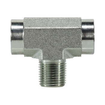 3/8 in. x 3/8 in. Male Branch Pipe Tee Steel Pipe Fitting & Hydraulic Adapter