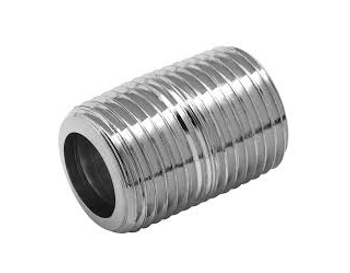 1 in. CLOSE Schedule 40 - NPT Threaded - 304 Stainless Steel Close Pipe Nipple (Domestic)
