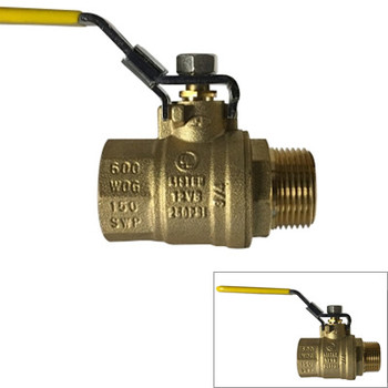 1-1/2 in. 600 WOG, Male x Female (M x F), Locking Handle Ball Valve, Forged Brass Body. UL