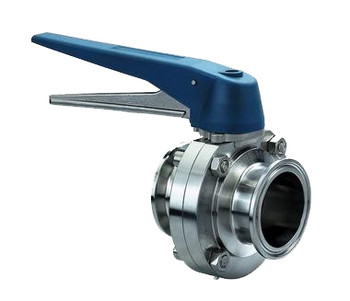 2-1/2 in. Sanitary Butterfly Valve, Clamp End (short) 316L Stainless Steel