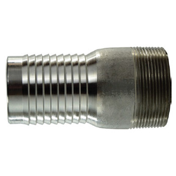 King Combination Nipple (KC), Thread x Hose Barb, 316 Stainless Steel