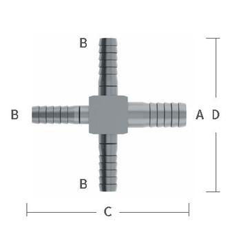 3/8 in. x 1/4 in. Reducing Barb Hose Crosses Stainless Steel Beverage Fitting