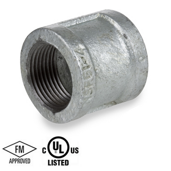 2 in. Galvanized Pipe Fitting 150# Malleable Iron Threaded Right and Left Coupling, UL/FM