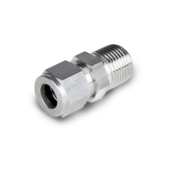 1/4 in. Tube x 1/2 in. NPT - Male Connector - Double Ferrule - 316 Stainless Steel Tube Fitting - Tube End View