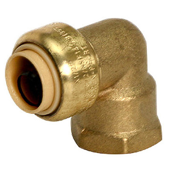 1 in. x 1 in. Female Adapter Elbow (Push x FNPT) QuickBite (TM) Push-to-Connect/Press On Fitting, Lead Free Brass (Disconnect Tool Included)