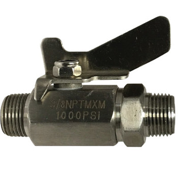 3/8 in. 1000 PSI WOG, MIP x MIP, Standard Port, Mini 316 Stainless Steel Ball Valve, Butterfly Handle