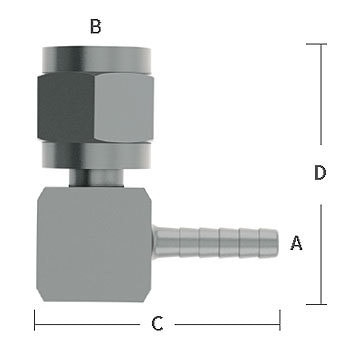 3/8 in. Barb x 1/4 in. Female Flare Welded Elbow Adapter 303/304 Comb. Stainless Steel Beverage Fitting