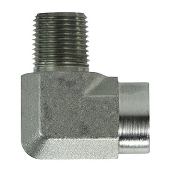 1/2 in. x 1/4 in. 90 Degree Street Elbow, Male x Female, Steel Pipe Fitting, Hydraulic Adapter