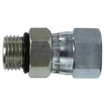 9/16-18 MOR x MJIC O-Ring to 37 Degree JIC Steel Swivel Hydraulic Adapter