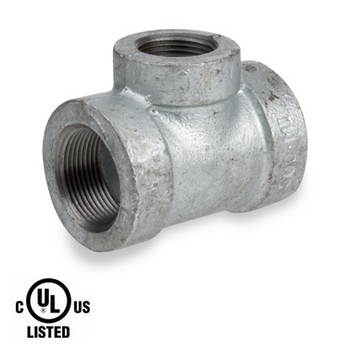 2 in. x 1-1/4 in. Galvanized Pipe Fitting 300# Malleable Iron Threaded Reducing Tee, UL Listed