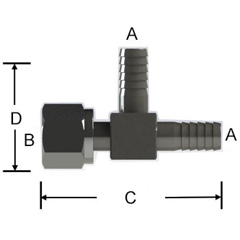 1/4 in. Barb x 1/4 in. Female Flare Swivel Nut, Adapter Tee 303/304 Comb. Stainless Steel Beverage Fitting