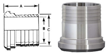 1-1/2 in. 14AHR Rubber Hose Adapter 304 Stainless Steel Sanitary Fitting Dimensions