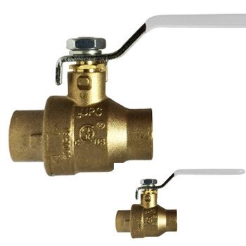 1-1/2 in. 600 PSI WOG, Lead Free Brass Ball Valve, Full Port, SWT x SWT, CSA