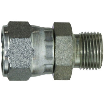 3/4-16 x 3/8-19 FJIC x MBSPP Straight Swivel Steel Hydraulic Adapter