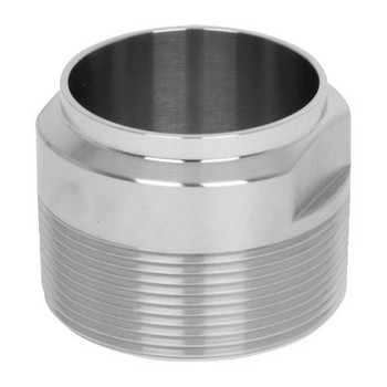2 in. Unpolished Male NPT x Weld End Adapter (19WB-UNPOL) 304 Stainless Steel Tube OD Fitting