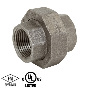 1-1/2 in. Black Pipe Fitting 150# Malleable Iron Threaded Union with Brass Seat, UL/FM