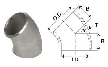 1 in. 45 Degree Elbow - SCH 40 - 304/304L Stainless Steel Butt Weld Pipe Fitting Dimensions Drawing