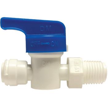 3/8 in. OD Shut Off Valve, PL x Male NPTF, Polypropylene Plastic Push In Tube Fitting