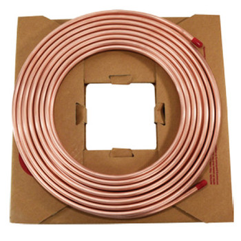 3/8 in. OD Copper Tubing, ASTMB280, Seamless, Applications: Refrigeration, 50' Coil, Alloy 122