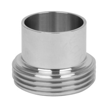 1 in. Long Threaded Bevel Seat Ferrule - 15A - 316L Stainless Steel Sanitary Fitting