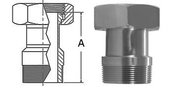 1-1/2 in. 14-19 Adapter (Acme Hex to Male NPT) 304 Stainless Steel Sanitary Fitting