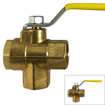 1/4 in. IPS 3 Way Ball Valve, FIP,Forged Brass, Bottom Outlet