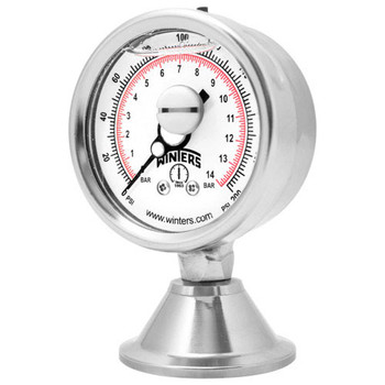 3A 2.5 in. Dial, 1.5 in. Seal, Range: 0-30 PSI/BAR, PAG 3A FBD Sanitary Gauge, 2.5 in. Dial, 1.5 in. Tri, Bottom