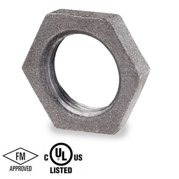 1-1/2 in. Black Pipe Fitting 150# Malleable Iron Threaded Lock Nut, UL/FM