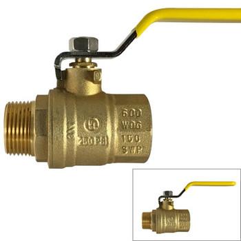 1-1/2 in. 600 WOG, MxF Full Port Brass Ball Valves, Forged Brass