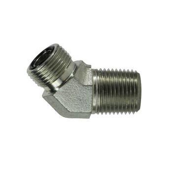 1-3/16-12 x 3/4 in. Male ORFS x Male NPT Pipe, 45 Degree Elbow, Steel O-Ring Face Seal Hydraulic Adapter