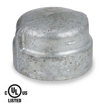 2 in. Galvanized Pipe Fitting 300# Malleable Iron Cap, UL Listed