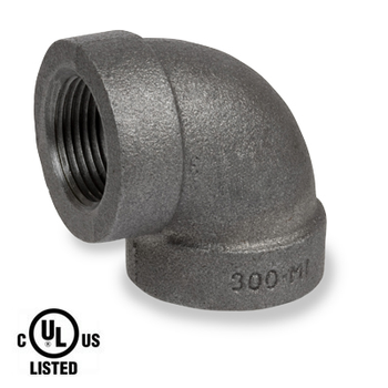 1 in. Black Pipe Fitting 300# Malleable Iron Threaded 90 Degree Elbow, UL